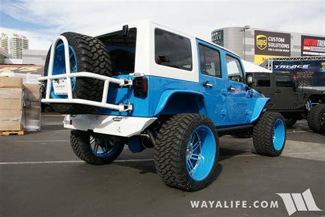 jeep blue white list sema 2016 sobecustoms blue white jeep jk wrangler unlimited