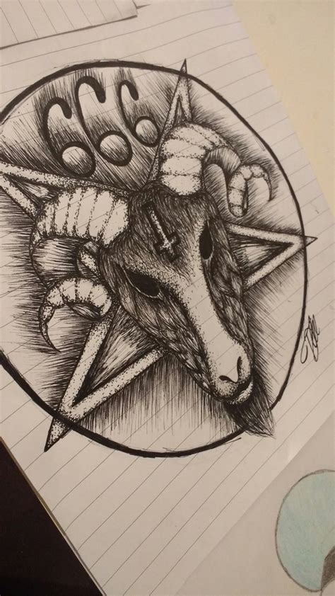 satanic goat tattoo my drawing of a satanic pentagram with a rams