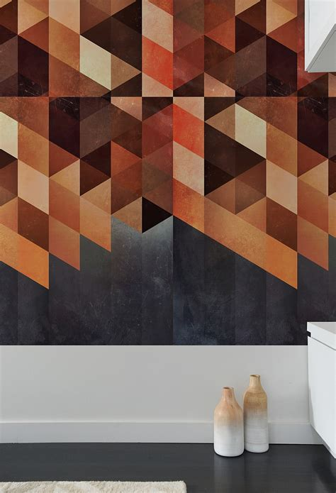 geometric pattern tiles create a captivating accent wall with geometric pattern