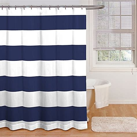 White And Navy Striped Curtains Buy Cabana Stripe 72 Inch X 72 Inch Shower Curtain In Navy White From Bed Bath Beyond