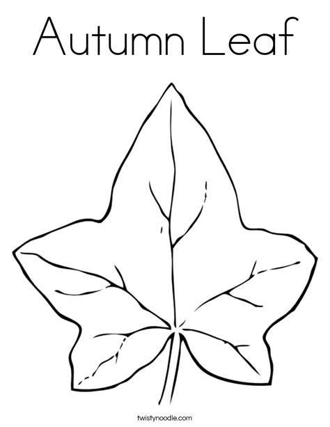 autumn leaf coloring page twisty noodle