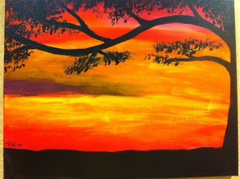 easy sunset painting painting ideas