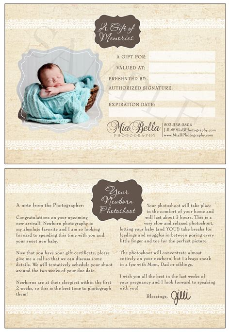 photoshoot gift certificate template photography newborn photoshoot gift