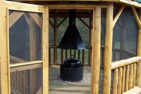 log gazebo styled gazebeque pit with grill gazebo