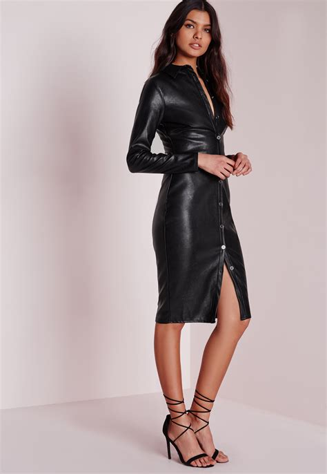 Dress Midi Mini Channel Spandek Simple Santai Casual Kasual lyst missguided faux leather fitted midi shirt dress