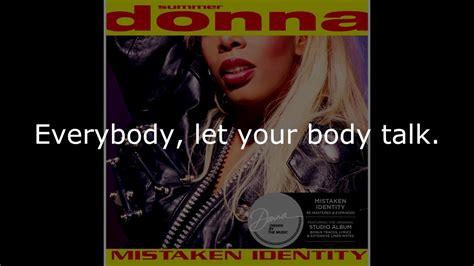 Talk About Mistaken Identity by Donna Summer Talk Lyrics Shm Quot Mistaken Identity