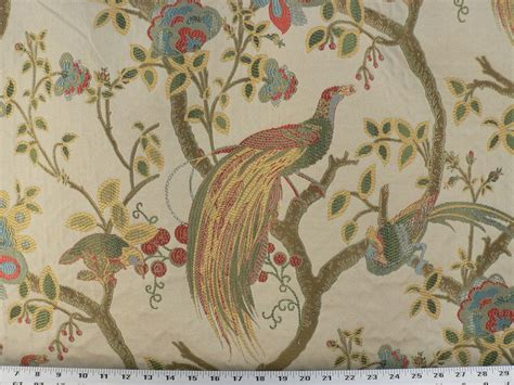 Fabric For Drapes And Upholstery by Drapery Upholstery Fabric Birds And Berries Embroidered