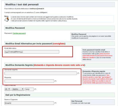 dati email aggiorna dati per il reset della password casella email