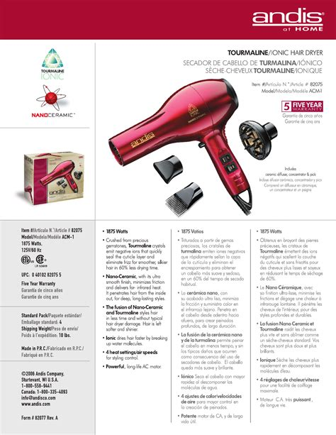 andis company hair dryer acm 1 user guide manualsonline