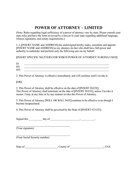 power of attorney 39 template lab