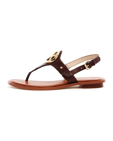 michael kors logo sandals lyst michael kors logo sandal in brown