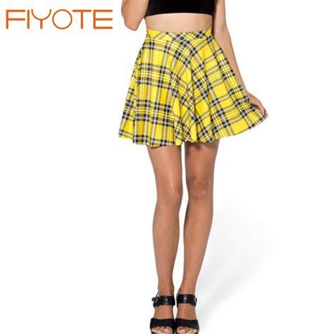 fiyote 2016 saias femininas school mini yellow plaid