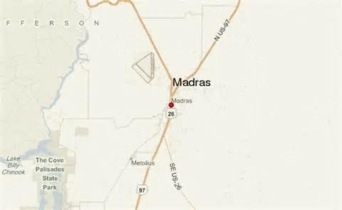 map of oregon madras madras location guide