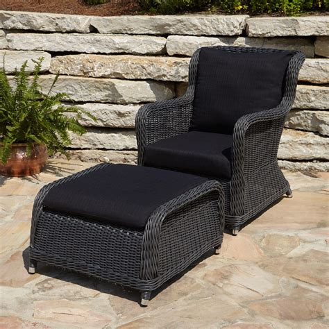 wicker patio chairs alcee resin wicker outdoor chair and ottoman set outdoor