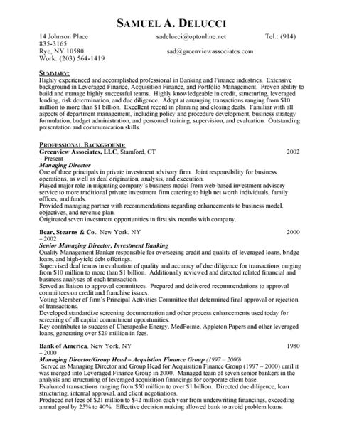 Investment Banking Resume Sle Pdf Investment Banks Resume Sales Banking Lewesmr