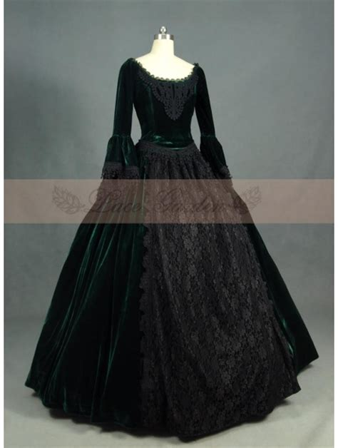 green  black velvet lace victorian ball gowns