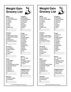 printable healthy weight gain grocery list