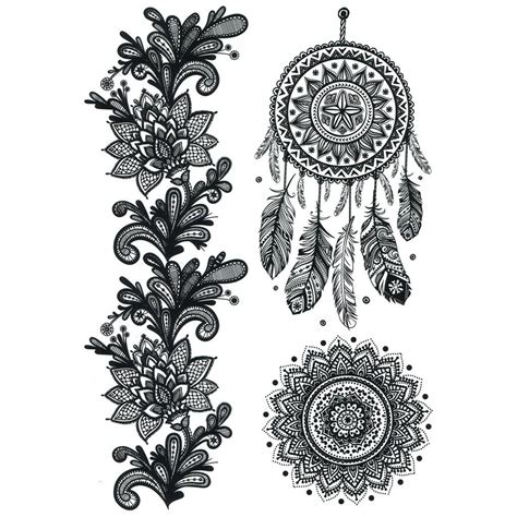temporary tattoo henna style temporary mandala fleurs mandala dreamcatcher