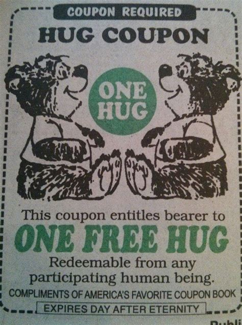 printable free hug coupons 11 best hug coupon other vouchers images on pinterest