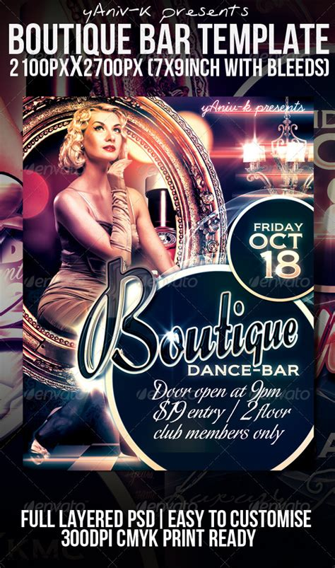 Boutique Bar Flyer Template By Yaniv K Graphicriver Bar Flyer Templates Free