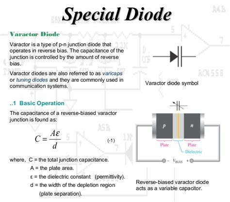 what is diode capacitance working principle diode and special diode