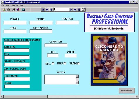 Baseball Card Inventory Template by Baseball Card Collector Professional 11 0 Review And