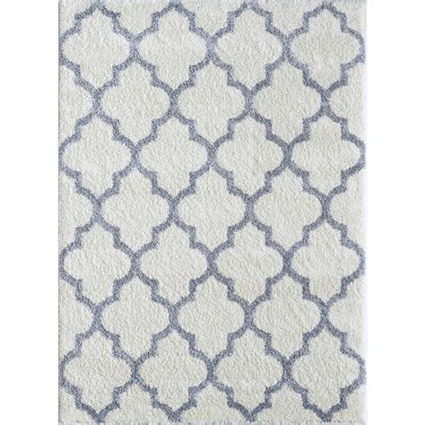Modern White Rug Tayse Rugs Modern Shag White Gray 7 Ft 10 In X 9 Ft 10 In Contemporary Area Rug Mdr1005