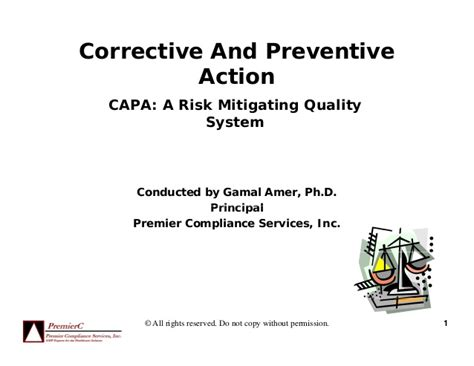 Capa A Five Step Plan capa a risk mitigating quality system