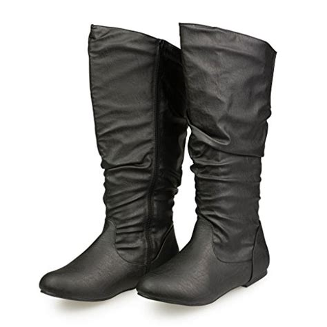 Leather Plain Flat Boot At Shellys twisted s shelly wide width wide calf faux leather