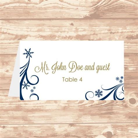 table card template wedding 5302 wedding place card diy template navy swirling snowflakes