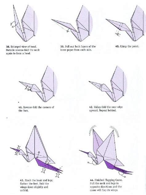 Flapping Crane Origami - pin flapping bird diagram on