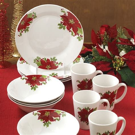 christmas holidays poinsettia 12 piece dinnerware set