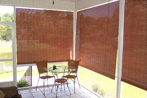 Exterior Porch Blinds basswood roll up woven wood shades for porch