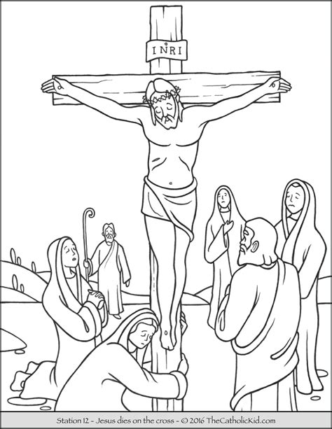 stations of the cross coloring pages 12 jesus dies on