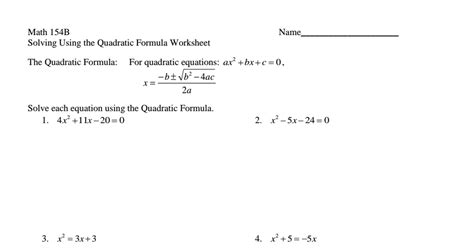 quadratic equations using formula worksheet