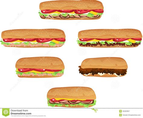 Sandwich Clip by Sub Sandwiches Stock Vector Image 45322957