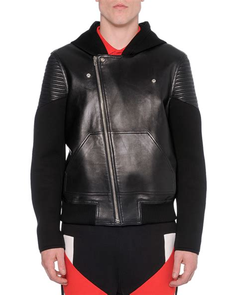 givenchy leather jacket givenchy leather neoprene moto jacket in black for lyst