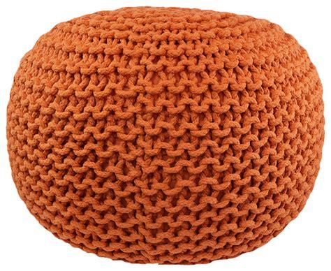cable knit pouf cable knit pouf orange contemporary floor