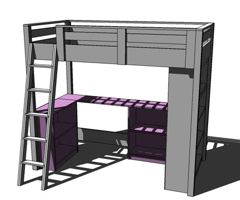 white build a loft bed small bookcase and desk
