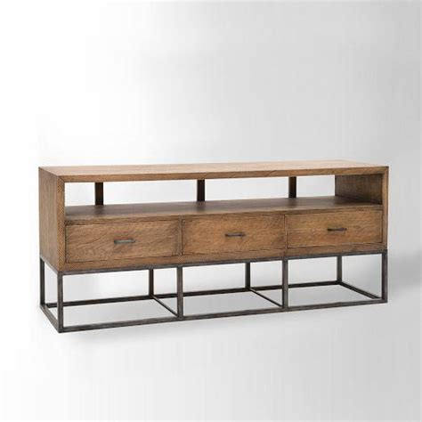 industrial media console wood and iron industrial media console