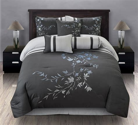embroidered comforter set 7pcs queen karissa embroidered comforter set black white