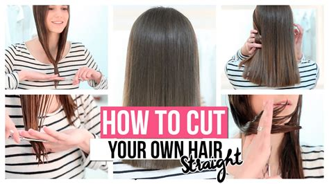how to cut your hair straight across the back how to cut your own hair straight youtube