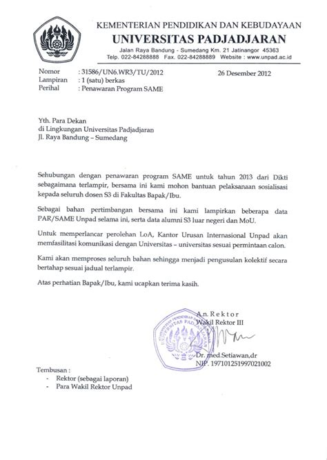 Kumpulan Contoh Surat Instruksi by Penawaran Program Same Scheme For Academic Mobility And