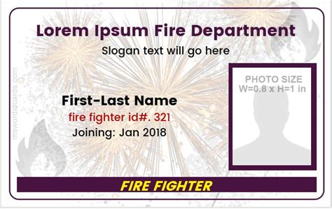 Firefighter Id Cards Template by Department Photo Id Badge Templates Formal Word