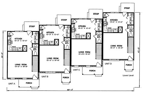 multi family apartment floor plans multi family plan 45352 at familyhomeplans