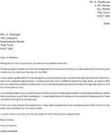 Letter Of Resignation For Nurses by Resignation Letter Exle Icover Org Uk