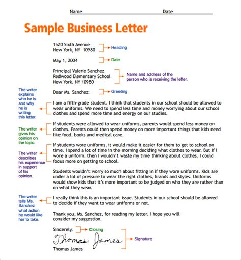 business letter sles for students sle letter format for 7 free sles exles