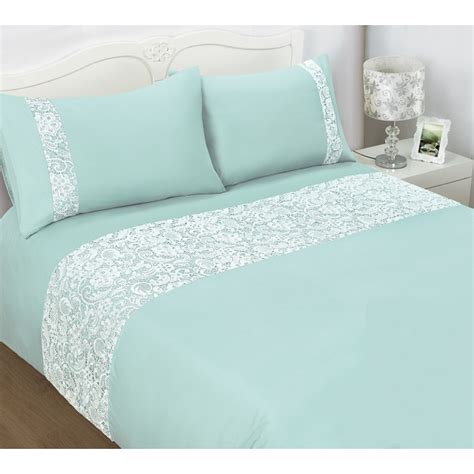 Duck Egg Bed Sets B M Pisa Lace King Duvet Set 320510 B M
