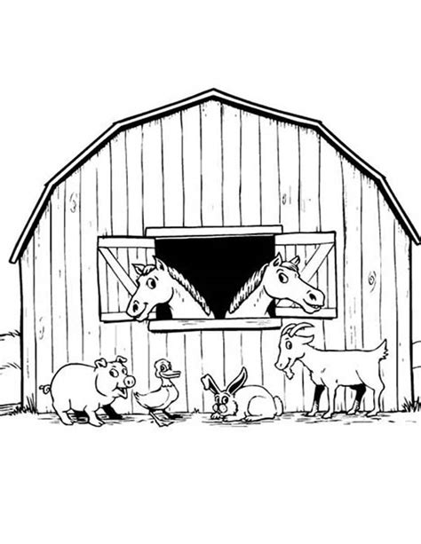 barn coloring pages with animals barn coloring pages bestofcoloring com