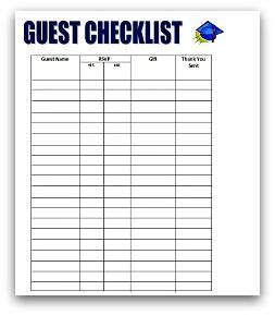 graduation checklist template guests checklist graduation ideas